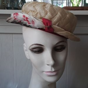 Vintage Faux Straw Hat with Feathers
